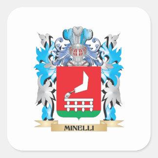 Escudo de armas de Minelli - escudo de la familia Pegatina Cuadrada