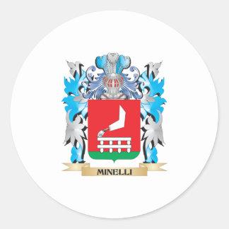 Escudo de armas de Minelli - escudo de la familia Pegatina Redonda