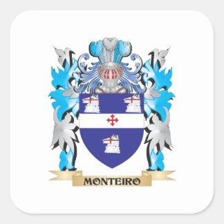 Escudo de armas de Monteiro - escudo de la familia Pegatina Cuadrada