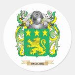 Escudo de armas de Moore (escudo de la familia) Etiqueta Redonda