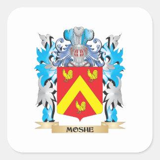 Escudo de armas de Moshe - escudo de la familia Pegatina Cuadrada