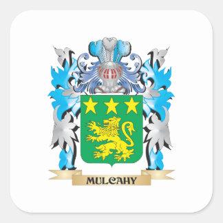 Escudo de armas de Mulcahy - escudo de la familia Calcomanías Cuadradass Personalizadas