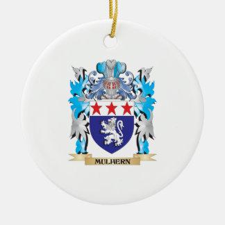 Escudo de armas de Mulhern - escudo de la familia Adorno Navideño Redondo De Cerámica