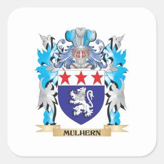 Escudo de armas de Mulhern - escudo de la familia Pegatina Cuadrada