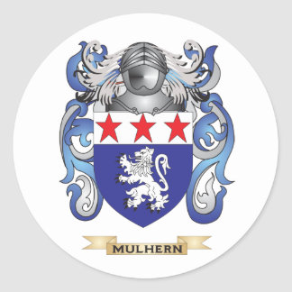Escudo de armas de Mulhern (escudo de la familia) Pegatina Redonda