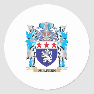 Escudo de armas de Mulhern - escudo de la familia Pegatina Redonda