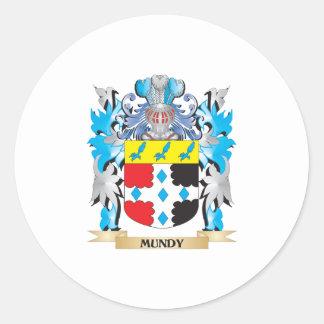 Escudo de armas de Mundy - escudo de la familia Pegatina Redonda