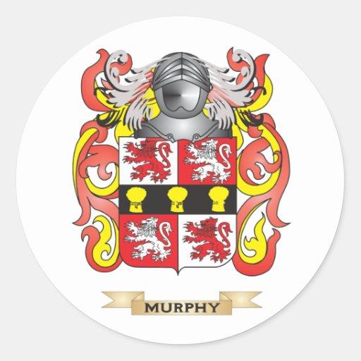 Escudo de armas de Murphy (escudo de la familia) Etiqueta Redonda
