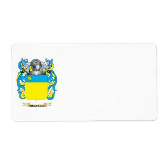 Escudo de armas de Negrelli (escudo de la familia) Etiquetas De Envío