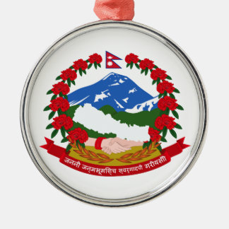 Escudo de armas de Nepal Adorno Navideño Redondo De Metal