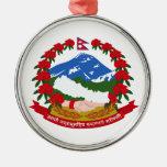 Escudo de armas de Nepal Adorno Redondo Plateado