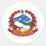 Escudo de armas de Nepal Pegatina Redonda