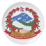 Escudo de armas de Nepal Plato De Comida