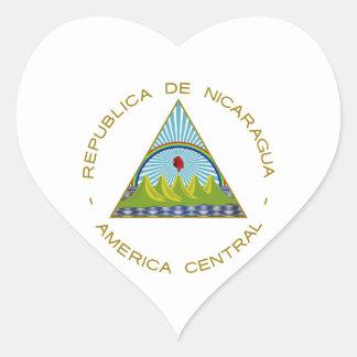 Escudo de armas de Nicaragua Pegatinas Corazon