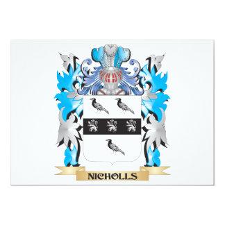 """Escudo de armas de Nicholls - escudo de la familia Invitación 5"""" X 7"""""""