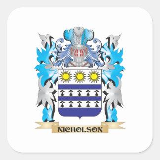 Escudo de armas de Nicholson - escudo de la Pegatina Cuadrada
