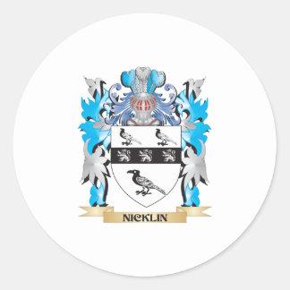 Escudo de armas de Nicklin - escudo de la familia Pegatina Redonda