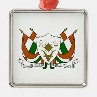 Escudo de armas de Niger Adorno Cuadrado Plateado