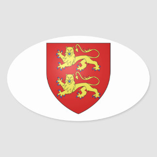 Escudo de armas de Normandía (Francia) Pegatina Ovalada