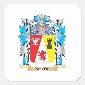 Escudo de armas de Novoa - escudo de la familia Pegatina Cuadrada