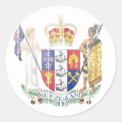 Escudo de armas de Nueva Zelanda Pegatinas Redondas