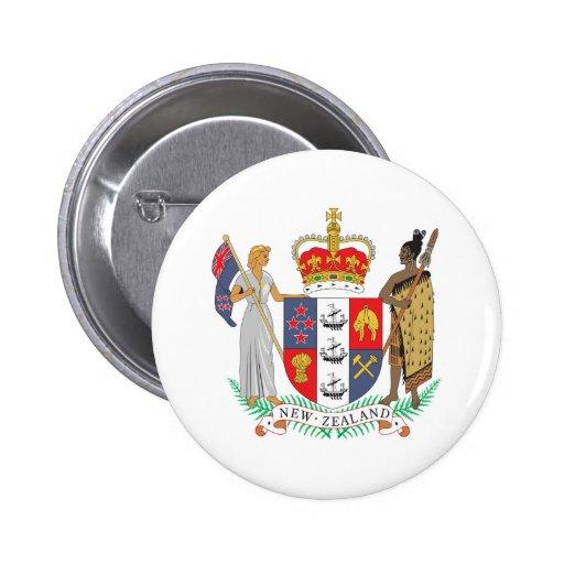Escudo de armas de Nueva Zelanda Pin Redondo 5 Cm