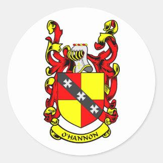 Escudo de armas de O'HANNON Pegatina Redonda