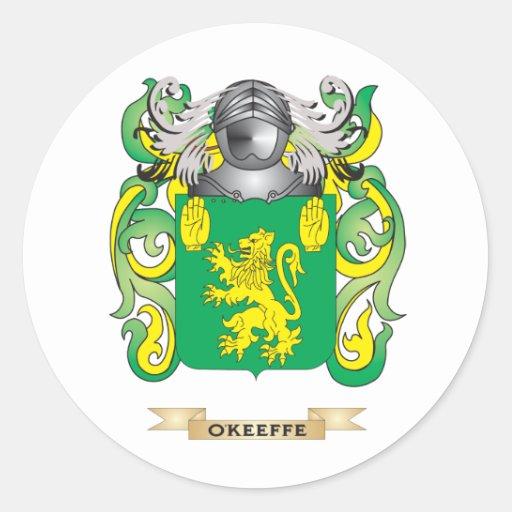 Escudo de armas de O'Keeffe (escudo de la familia) Pegatina Redonda