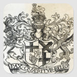 Escudo de armas de Oliver Cromwell Pegatina Cuadrada