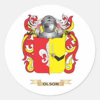 Escudo de armas de Olson (escudo de la familia) Pegatina Redonda