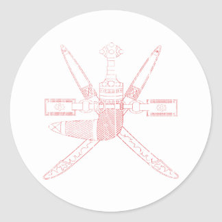 Escudo de armas de Omán Pegatina Redonda