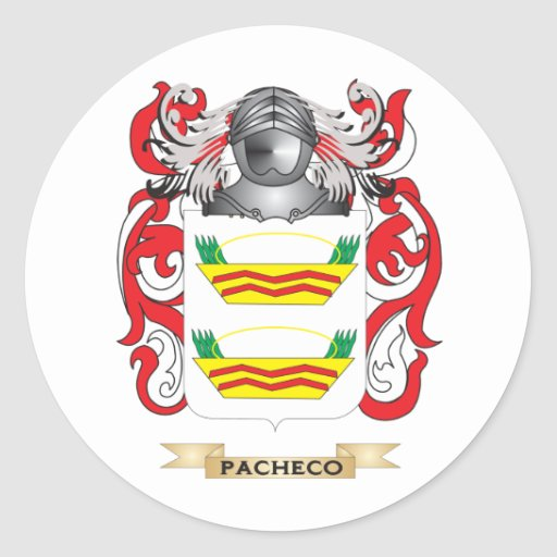Escudo de armas de Pacheco (escudo de la familia) Pegatina Redonda