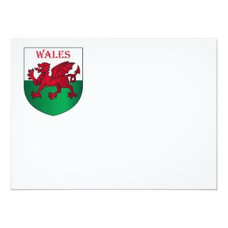 """Escudo de armas de País de Gales Invitación 5.5"""" X 7.5"""""""