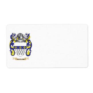 Escudo de armas de Paolini (escudo de la familia) Etiqueta De Envío