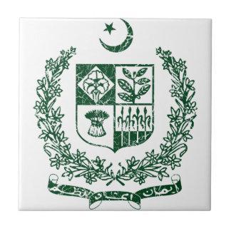 Escudo de armas de Paquistán Azulejo Cuadrado Pequeño