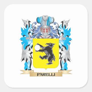Escudo de armas de Parelli - escudo de la familia Calcomania Cuadradas