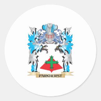 Escudo de armas de Parkhurst - escudo de la Pegatina Redonda