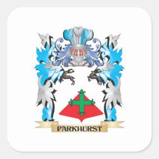 Escudo de armas de Parkhurst - escudo de la Pegatina Cuadrada