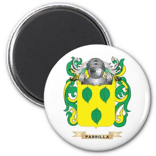 Escudo de armas de Parrilla (escudo de la familia) Imanes Para Frigoríficos