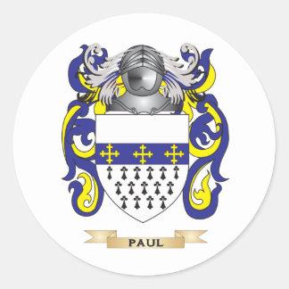 Escudo de armas de Paul (escudo de la familia) Pegatina Redonda