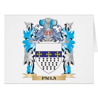 Escudo de armas de Paula - escudo de la familia Tarjeta De Felicitación Grande