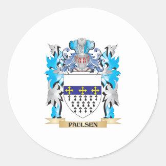 Escudo de armas de Paulsen - escudo de la familia Etiquetas Redondas