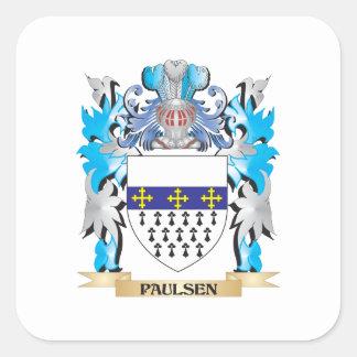 Escudo de armas de Paulsen - escudo de la familia Calcomanía Cuadradas Personalizadas