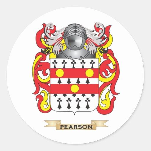 Escudo de armas de Pearson (escudo de la familia) Etiqueta Redonda