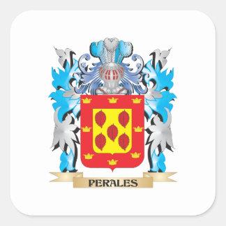 Escudo de armas de Perales - escudo de la familia Pegatina Cuadrada
