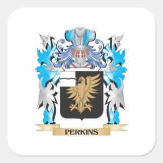 Escudo de armas de Perkins - escudo de la familia Pegatina Cuadrada