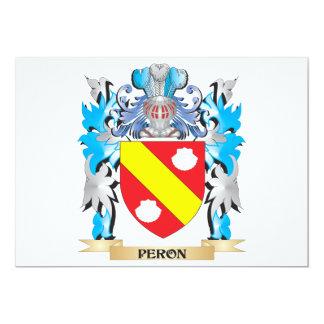 Escudo de armas de Peron - escudo de la familia Invitación 12,7 X 17,8 Cm