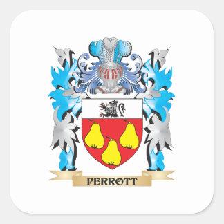 Escudo de armas de Perrott - escudo de la familia Calcomanias Cuadradas