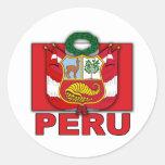 Escudo de armas de Perú Etiquetas Redondas