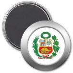 Escudo de armas de Perú Imán Redondo 7 Cm